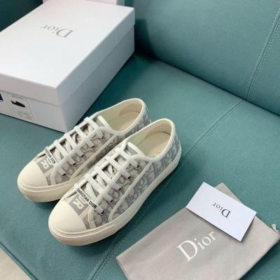 Diro\迪奥经典款刺绣品牌印花帆布鞋 系带休闲运动鞋