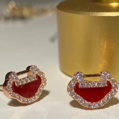 Qeelin麒麟珠宝玫瑰金yuyi系列红玉髓钻石耳钉 肖战同款系列推荐