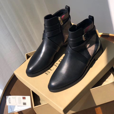 Barberry\巴宝莉格纹拼接休闲鞋切尔西靴女士单鞋短靴