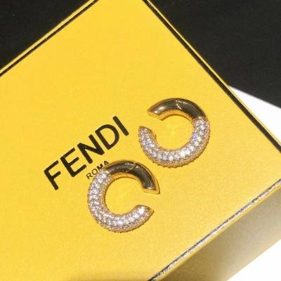 Fendi芬迪超火的耳骨夹微镶工艺施华洛世奇水晶一对耳钉