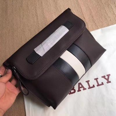 BALLY/巴利男士手包牛皮撞色条纹经典LOGO时尚休闲手拿包 盖头手拿款 BL-XMN