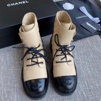 Chanel/香奈儿秋冬新款女鞋系带粗跟短靴厚底增高鞋