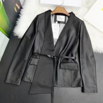 Dior迪奥皮衣  早秋女士翻领腰带短款小羊皮外套-13