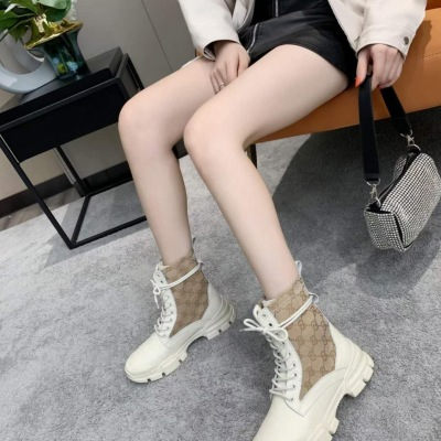Gucci\古驰女士新款配色女靴 独特老色印花马丁靴 系带短靴