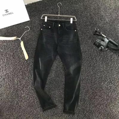 stefano/ ricci史蒂芬牛仔裤 男士长腿黑灰色弹力修身裤子-2