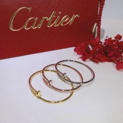 Cartier卡地亚钉子无钻版白金 玫瑰金 18K金手镯 质感真心超级好