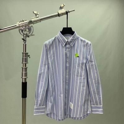 TB汤姆布朗衬衫  春秋条纹男士刺绣长袖翻领衬衣-2