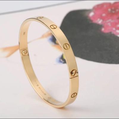 Cartier卡地亚卡地亚老款螺丝可卸18K黄金无钻手镯