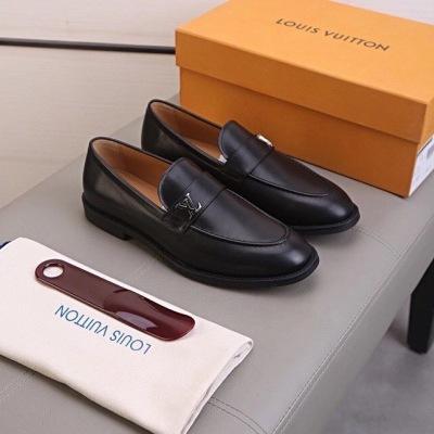 Lv\路易威登男士商务休闲乐福鞋金属lv标 高密度牛仔布皮鞋