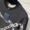 LV路易威登卫衣 秋冬情侣款3d效果链条衔缝长袖圆领套头厚运动衫-8