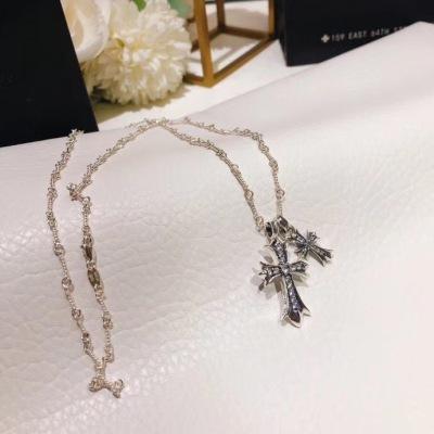 CHROME HEARTS克罗心双十字架镶钻项链 时尚简约 优雅个性美丽