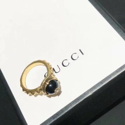 Gucci古驰戒指古驰复古豹头琉璃珠戒指