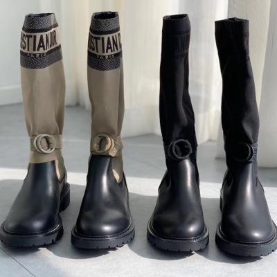 Diro/迪奥2020秋冬新款帆布军靴 真皮女鞋 长筒马丁靴骑士靴子