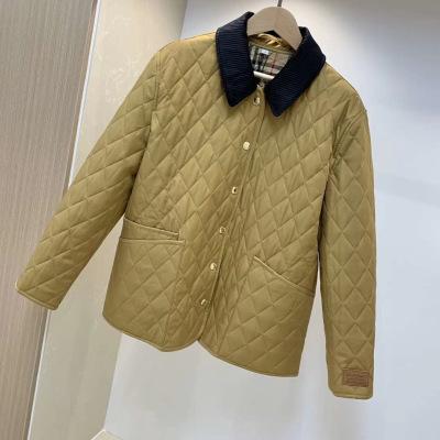 Burberry巴宝莉棉服 冬款女士赵薇同款菱形棉衣夹克翻领外套-15