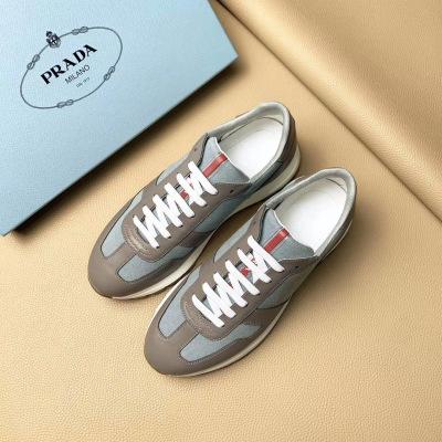 Prada\普拉达2020夏季新款真皮拼接网面透气休闲运动鞋