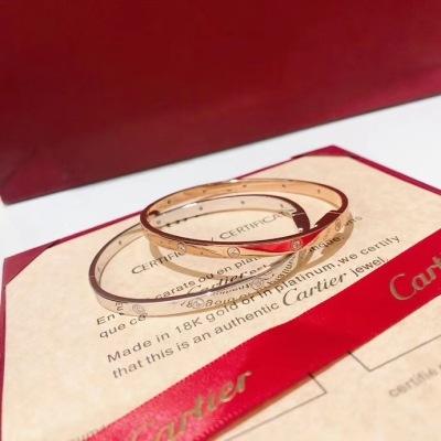 Cartier卡地亚 时尚经典 十二钻 手镯 清晰logo!360度无死角,质感超赞 堪称完美   玫瑰金白金
