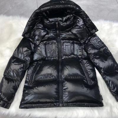 Moncler蒙口羽绒服 冬季男女同款亮面黑色立体logo外套-9