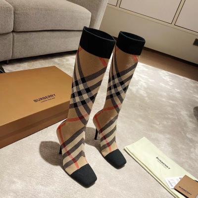 Burberry/巴宝莉经典格纹长筒靴 跟高10.5cm 筒高41cm女靴
