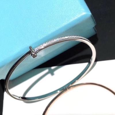 Tiffany蒂芙尼T1系列半钻玫瑰金白金手镯 高端定制 女神同款