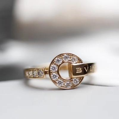 BVLGARI宝格丽18K金镶嵌钻石戒指可做结婚对戒