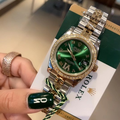 ROLEX劳力士日志系列经典女款手表 31实心5珠钢带手表 云杉绿盘 精钢表壳搭配施华洛世奇手晶钻石手表