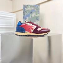 Valentino\华伦天奴最新款男士拼色星星休闲运动鞋 大底铆钉系带男鞋