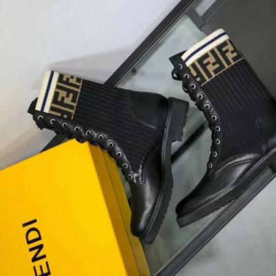 Fendi/芬迪马丁靴弹力针织字母袜靴中筒短靴女鞋