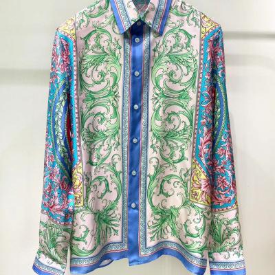 versace范思哲衬衫2020紫金巴洛克印花男女长袖衬衣-8