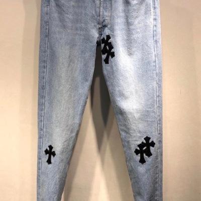 CH克罗心牛仔裤  春秋男士十字架缝皮休闲修身弹力水洗蓝裤子-30