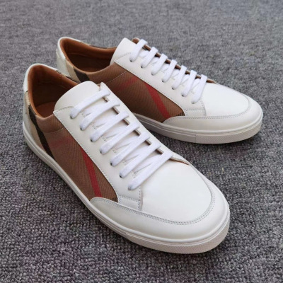 Burberry\巴宝莉白色house格纹织物配皮小白鞋 平底休闲鞋