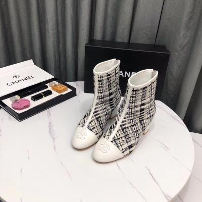 Chane\香奈儿2020冬季最新款条纹后拉链女士靴子中跟小香风