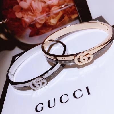 Gucci古驰18K珐琅手镯白金玫瑰金满满的质感时尚百搭款