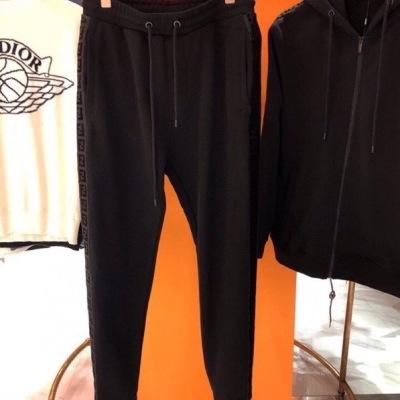 Fendi芬迪卫裤  春秋男士休闲侧边丝绒织带条装饰长腿休闲裤-2
