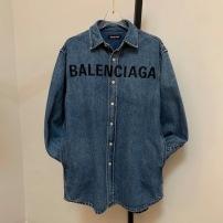 Balenciaga巴黎世家牛仔衣  早秋做旧情侣款休闲宽松翻领衬衣-2