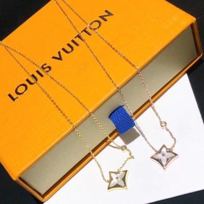 LV路易威登玫瑰金K黄金贝壳镶嵌钻石四叶草时尚项链
