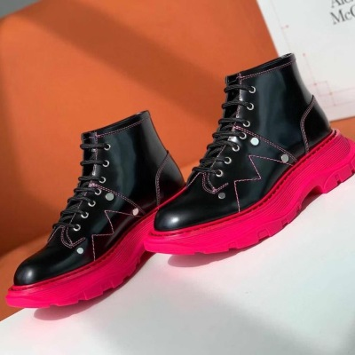 Mcq\麦昆秋冬新款马丁靴系带厚底松糕鞋 明星同款
