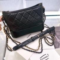 Chanel香奈儿女士单肩流浪包牛皮黑色复古小号金银扣斜挎包 经典百搭 XNE-F
