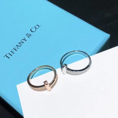 Tiffany蒂芙尼 T1系列18K玫瑰金 白金窄式半钻戒指