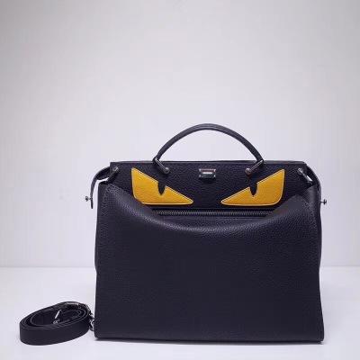 FEND1芬迪 男款系列纯手工线手提包 牛皮荔枝纹,银色五金与黑色皮面的完美搭配,低调中的奢华 FD-MD3