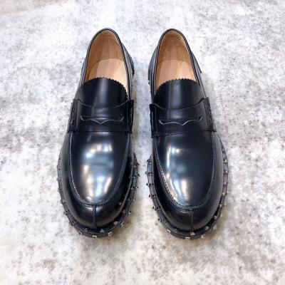 Valentino/华伦天奴新款男士开边圈钉皮鞋 休闲乐福鞋