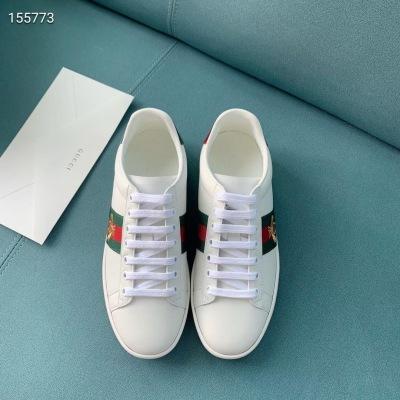 Gucci/古驰白色牛皮条纹刺绣logo织带男女休闲情侣系带板鞋