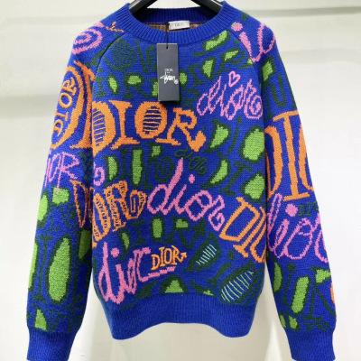 DIOR 迪奥毛衣 2020秋冬手工针织衫 男女同款 满身老花字母宾迪奥羊毛 圆领套头-8