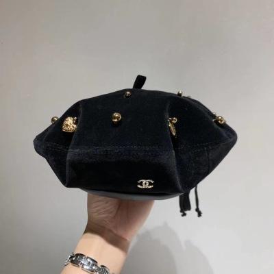 Chanel香奈儿2020新款贝蕾帽,金丝绒面料 黑,卡其两色mzyj0827111