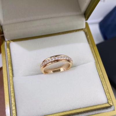 PIAGET伯爵热门款时来运转单排转动玫瑰金白金钻石戒指