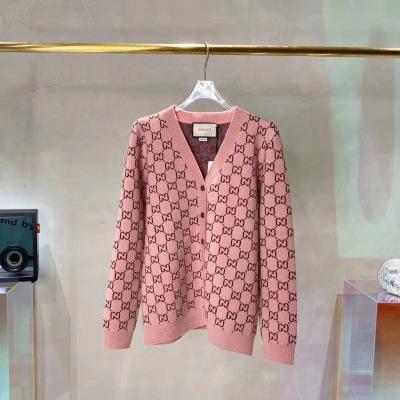 Gucci古驰开衫  秋冬粉色经典老花图案长袖女士毛衣-15