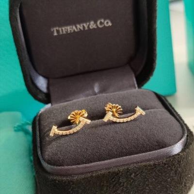Tiffer蒂芙尼T系列镶钻微镶笑脸玫瑰金 白金 K黄金耳钉