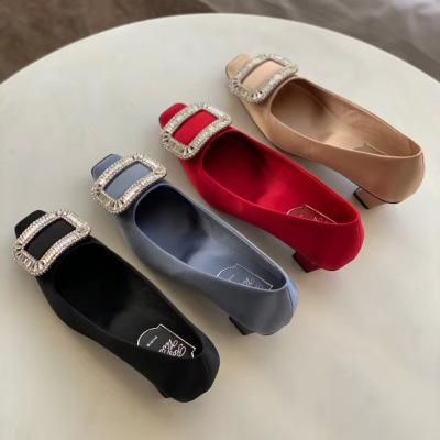 RogerVivier /RV新款女士方形钻扣高跟方头单鞋 4.5cm