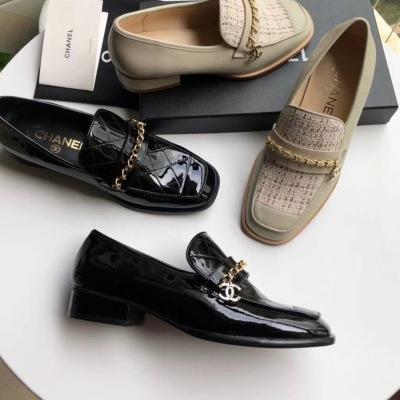 Chanel\香奈儿早秋新款链条logo单鞋 真皮大底女士经典复古单鞋 休闲鞋