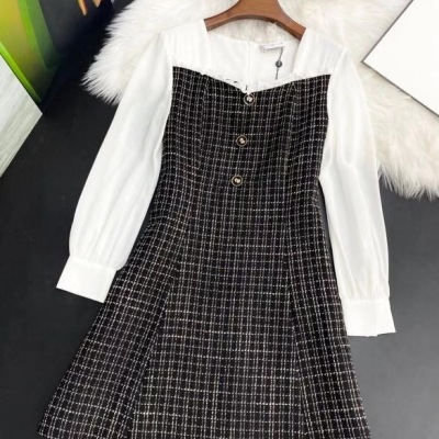 Chanel香奈儿连衣裙  秋季女士名媛风长袖显瘦裙子-13
