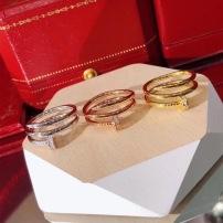Cartier卡地亚钉子新款双层钻石玫瑰白金 黄金三色戒指